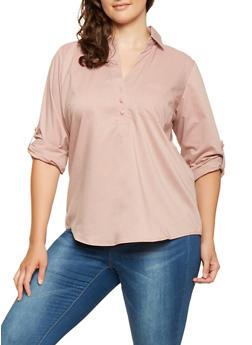 Plus Size Tabbed Sleeve Shirt - 9407051066036