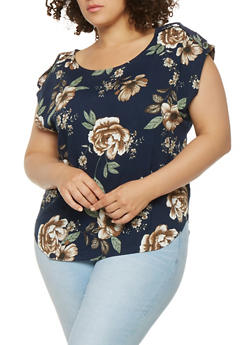 Plus Size Tabbed Sleeve Floral Top - 9407051068515
