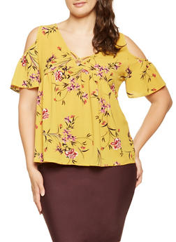 Plus Size Floral Caged Cold Shoulder Top - 9407054267545