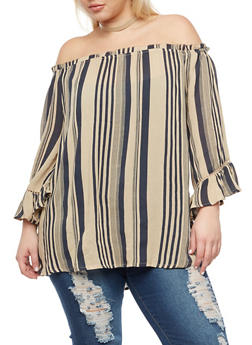 Plus Size Off the Shoulder Striped Top - 9407056122651