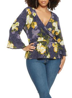 Plus Size Floral Faux Wrap Blouse - 9407056122892