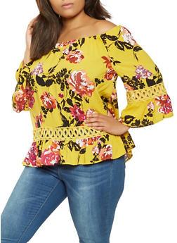 Plus Size Floral Off the Shoulder Top - 9407056124257