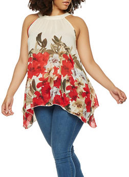 Plus Size Floral Sharkbite Hem Top - 9407056124284