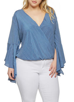 Plus Size Striped Faux Wrap Top - 9407056124287