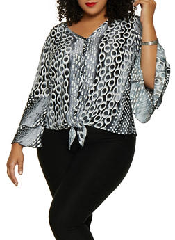 Plus Size Tiered Bell Sleeve Printed Top - 9407056129073