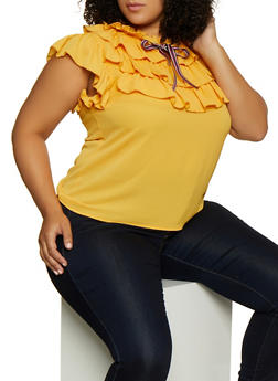 Plus Size Tie Neck Ruffled Blouse - 9407062702964