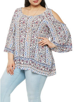 Plus Size Printed Cold Shoulder Top - 9407071257133