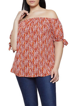 Plus Size Printed Tie Sleeve Off the Shoulder Top - 9407072681172
