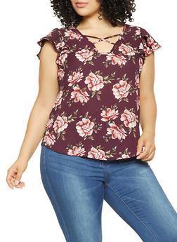 Plus Size Floral Print Blouse - 9407074091031