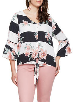 Plus Size Floral Striped Tie Front Shirt - 9407074091081