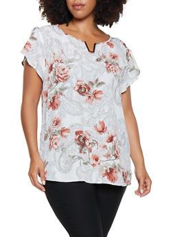 Plus Size Floral Flutter Sleeve Blouse - 9407074091082