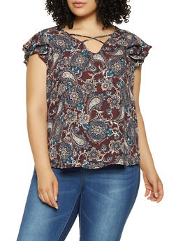 Plus Size Paisley Caged Neck Top - 9407074091087