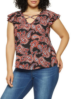 Plus Size Paisley Print Flutter Sleeve Top - 9407074091088