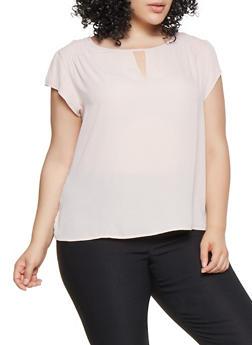 Plus Size Smocked Shoulder Blouse - 9407074091106