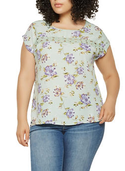 Plus Size Crochet Insert Floral Top - 9407074091107