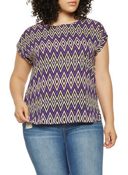 Plus Size Printed Blouse - 9407074094801