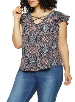 Plus Size Printed Flutter Sleeve Top - 9407074098910