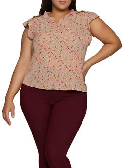 Plus Size Floral Half Button Cap Sleeve Blouse - 9407074737231