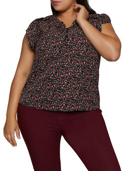 Plus Size Half Button Floral Cap Sleeve Blouse - 9407074738231