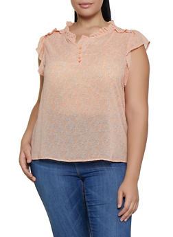Plus Size Half Button Floral Cap Sleeve Blouse - 9407074738231