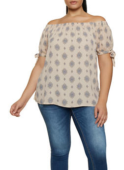 Plus Size Printed Off the Shoulder Tie Sleeve Top - 9407075220955
