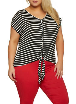 Plus Size Striped Tie Button Front Top - 9416054267155