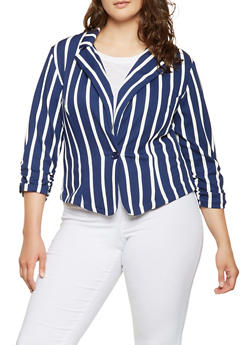 Plus Size Striped Blazer - 9423020620350