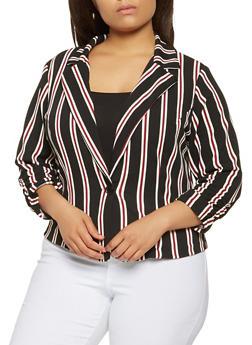 Plus Size Striped Blazer - 9423020620350