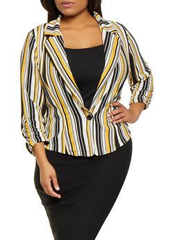Plus Size Striped Blazer - 9423020621870