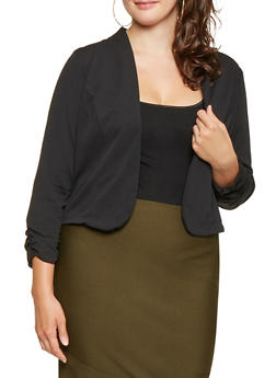 Plus Size Open Front Blazer - 9423020626324