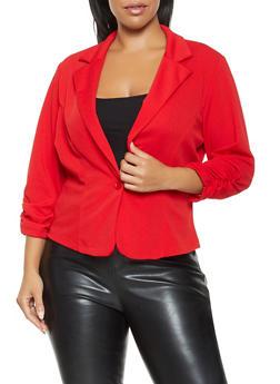Plus Size Solid Blazer - 9423020626410