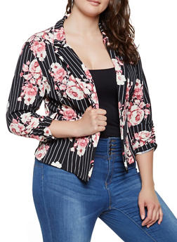 Plus Size Striped Floral Blazer - 9423020627305