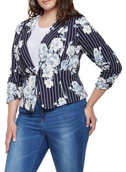 Plus Size Striped Floral Blazer - 9423020627305