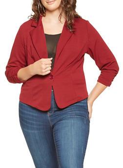 Plus Size Ruched Sleeve Blazer - 9423020627703
