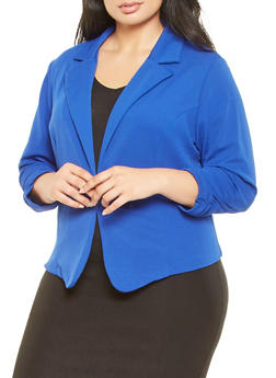 Plus Size Ruched Sleeve Blazer - 9423020627703