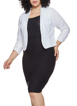 Plus Size Ruched Sleeve Blazer - 9423020628044