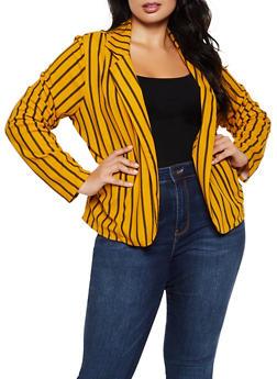 Plus Size Striped Knit Open Front Blazer - 9423062700018