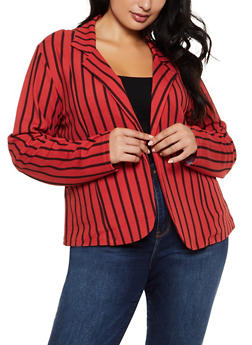 Plus Size Striped Knit Open Front Blazer - 9423062700018