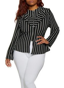 Plus Size Striped Peplum Jacket - 9423062703000