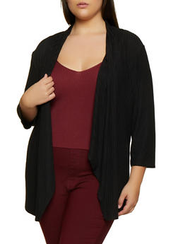 Plus Size Rib Knit Draped Front Cardigan - 9424062709991