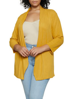 Plus Size Rib Knit Draped Front Cardigan - 9424062709991