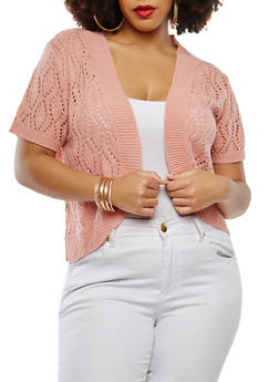 Plus Size Knit Shrug - 9424074051041