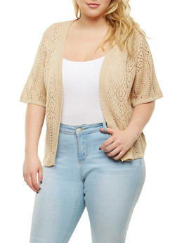 Plus Size Knit Cardigan - 9424074052278