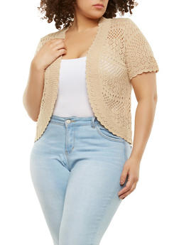Plus Size Knit Shrug - 9424074052281