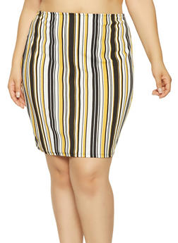 Plus Size Striped Pencil Skirt - 9425020624858