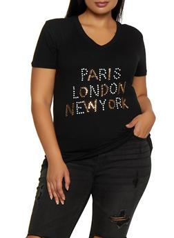 Plus Size Paris London New York Studded Tee - 9427062703077