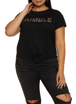 Plus Size Humble Tie Front Tee - 9427064465737
