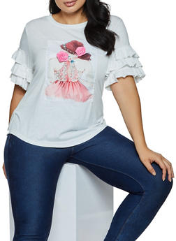 Plus Size Faux Pearl Dress Patch Top - 9427064466325