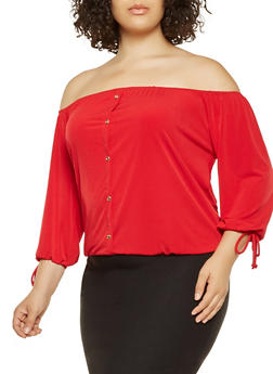 Plus Size Tie Sleeve Off the Shoulder Top - 9428020621156