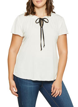 Plus Size Ruffled Tie Neck Blouse - IVORY - 9428020621318